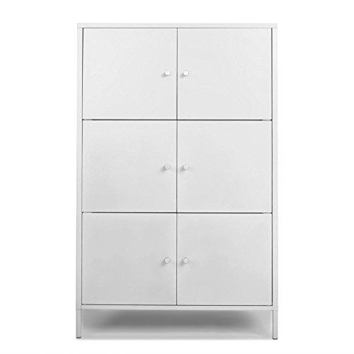IKAYAA 6-Tür Hochschrank Kommode Metallschränke Locker Schlafzimmer Badmöbel Weiß