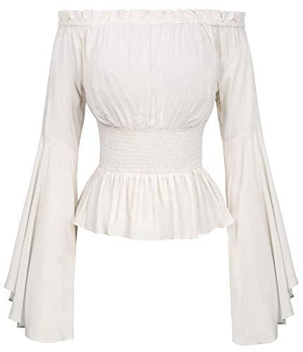 Womens Off Shoulder Renaissance Peansant Blouse Ruffle Boho Tops Shirts L Ivory