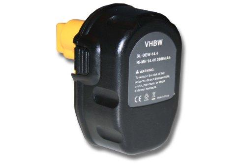 Batteria di strumento NI-MH 3000mAh 14.4V nero, compatibile con DEWALT sostituisce DC9091, DE9038, DE9091, DE9092, DE9094, DE9502, DW9091, DW9094