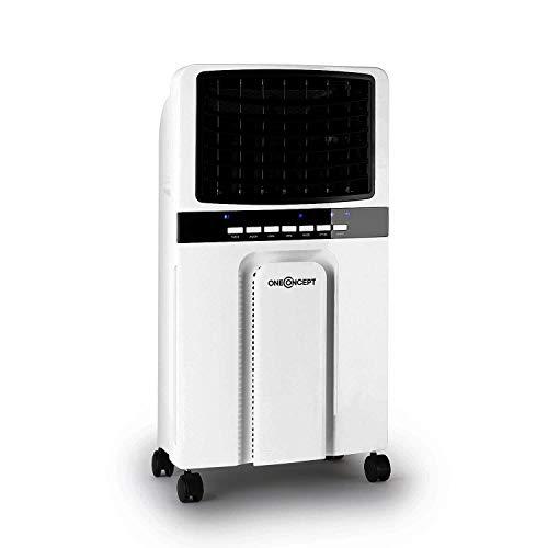 oneConcept Baltic – Enfriador de aire 3 en 1, ventilador, humidificador y enfriador de aire, 65 W, caudal de 360 m³/h, depósito de 6 litros, 2 acumuladores de frío, oscilación horizontal, gris