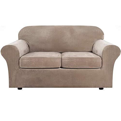 erddcbb Velvet Plush 3 Piece Stretch Sofa Cover Velvet-Sofa Slipcover Loveseat Cover Furniture Protector Couch Soft Loveseat Slipcover for 2 Cushion Couch with Elastic Bottom (Sand Color)