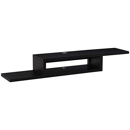 HOMCOM Mueble de TV Mesa Flotante para Televisión hasta 60 Pulgadas en la Pared con 2 Estantes Madera 152,4x29,8x21 cm Negro