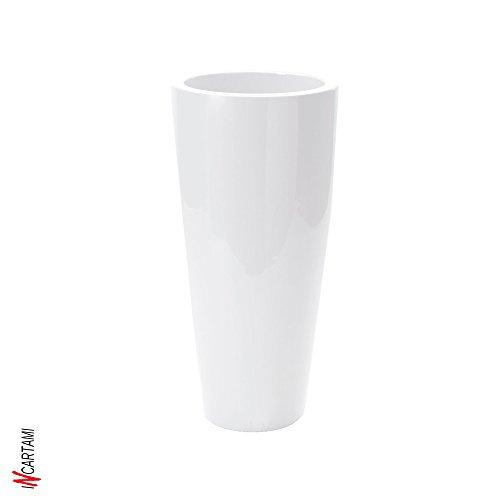 Nicoli - Vaso a forma conica con tecnologia rotazionale, Bianco lucido, 33x70 cm