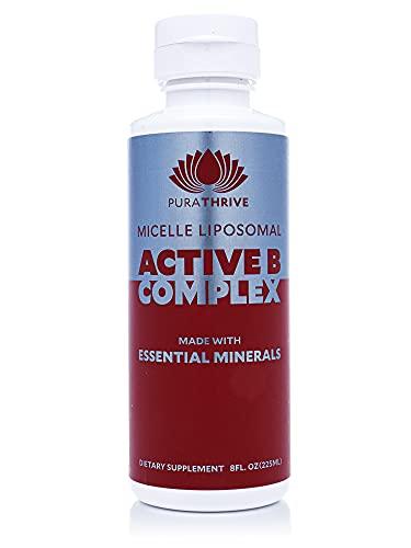 PuraTHRIVE Micelle Liposomal Active B Complex Vitamins Liquid Supplement, Methylcobalamin Form, Contains Vitamins B1, B2, B3, B5, B6, and B12, Biotin, Orange Oil, Tangerine Oil, Lemon Oil, 8 Ounces
