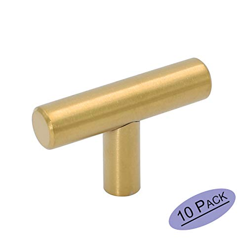Goldenwarm 10Pack Single Hole Gold Cabinet Knobs and Pulls Door Cupboards Drawers Bedroom Furniture Handles 50mm/2in Overall Length Brushed Brass