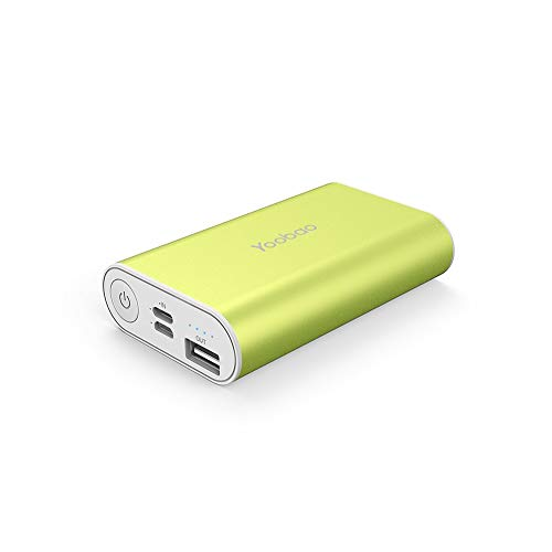 Yoobao 6000mAh Small Portable Charger Pocket Power Bank Dual Input Battery Backup Phone Charger External Battery Pack Cellphone Compatible iPhone X 8 7 Plus Android Samsung Galaxy Smartphone-Green