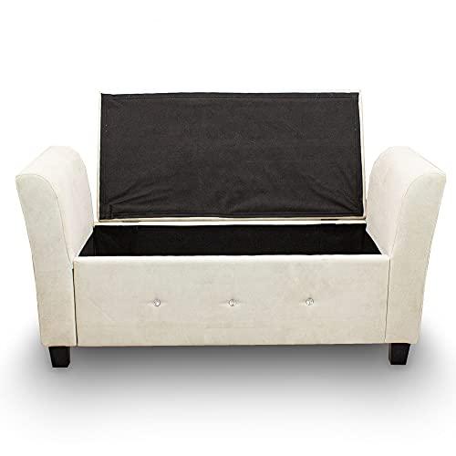 Sitzbank Sitztruhe Zweisitzer Polsterbank Fensterbank Ottomane Zweisitzer Mini Couch Kinder Couch mit Stauraum 136x45x66 (Silbergrau) - 3