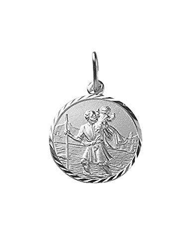 Médaille Saint-Christophe contour ciselé en argent massif