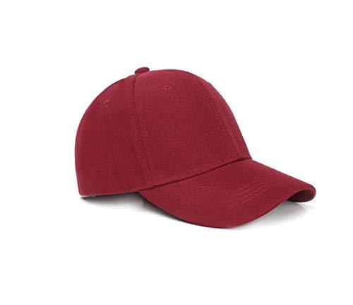 15 Colores Verano otoño Moda Soild Hombres Mujeres Gorra de béisbol Sombrero de adhesión Hiphop Ajustable Cool Sunhat Casquette Gorras Presente-Wine red-54CM-60CM