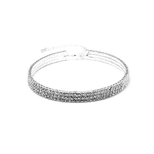 ishine collar de diamantes con cristales de mujer con cadena de extensión Accessoirs de joyas moda clásica 1/3/4/5hileras de Parangon plata brillantes