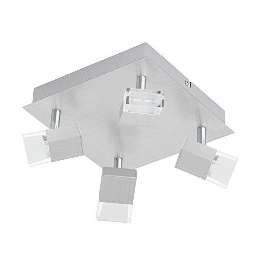 EGLO LED-Quadrat Spotleuchte Modell Gemini 1/4, Alu/geb 93867 E