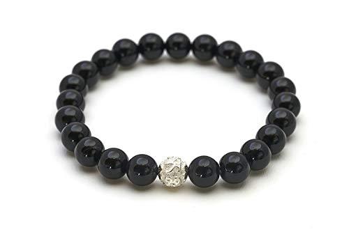 Onix pulsera de perlas genuinas con piedra natural y perlas de plata de ley 925 - BERGERLIN