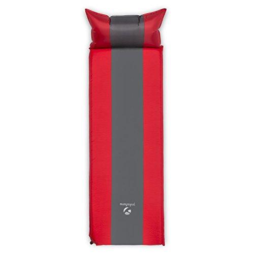 Yukatana Goodsleep 10 Isomatte Luftmatratze (selbstaufblasend, 10 cm dick, geringes Packmaß, inkl. Packbeutel) rot-grau