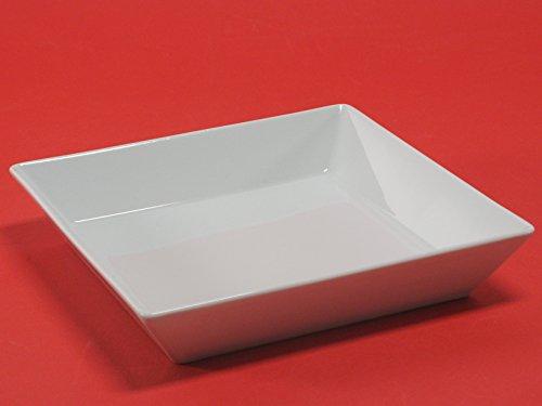 H&H Classic Assiette Creuse carrée, 21,5 x 21,5 cm, Porcelaine, Blanc