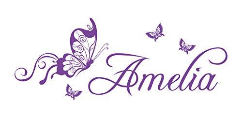 Nombre personalizado Mariposas Vinilo Adhesivo Pared Arte Niñas Childs dormitorio hswa3, Medium