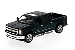 "1/46 scale diecast collectible model car This Chevy Silverado is 5""L x 2""W x 1.75""H Pullback motor action and openable doors & tailgate Green"