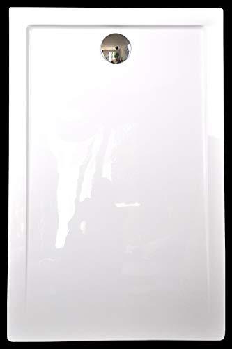 Superflache Duschtasse Duschwanne 100x80 120x80 120x90 140x80 140x90 100x100 Komplett Set flach Rechteckig kratz und rutschfest Hochglanz Weiß Höhe 3,5 cm inkl. Ablaufgarnitur, Größe: 140x80