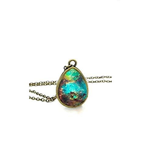 Youkeshan Collar de Nebulosa de Orión, galaxia, joyería espacial, lágrima, cadena vintage de cristal
