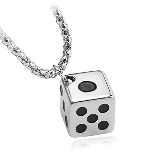 SOTUVO Collar Collares creativos de Acero Inoxidable a la Moda para Hombres, Collares y Colgantes con Dados de la Suerte, Gargantilla, Accesorios para Parejas de Hombres y Mujeres