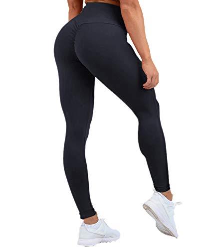 DUROFIT Legging Push up da Donna Yoga Pants con Tasca Pantaloni Sportivi Vita Alta Lunghi Yoga Fitness Palestra Blu M