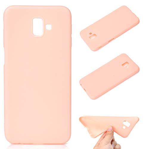 LeviDo Coque Compatible pour Samsung Galaxy J6+/J6 Plus 2018 Étui Silicone Souple Bumper Antichoc TPU Gel Cover Bonbons Couleurs Design Ultra Fine Mince Caoutchouc Etui, Rose