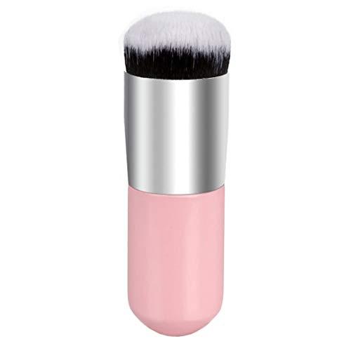 WJH Poignée Courte en Bois Grande tête Ronde Tampon Poudre Pinceaux de Maquillage Poudre Ronde Brosse Maquillage BB Outils de crème (Couleur : Rose)