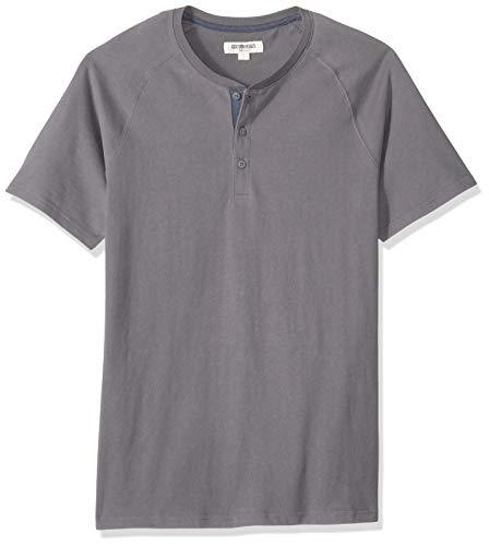 Marchio Amazon - Goodthreads, maglia Henley in jersey da uomo, a maniche corte, effetto scamosciato, grigio scuro, US L (EU L)