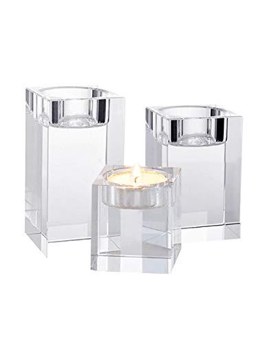 SPDYCESS 3-teilig Quadrat Glas Kristall Leuchter - Einfaches Design Kreativ Kerzenhalter Set für Wohnkultur Party Hochzeit