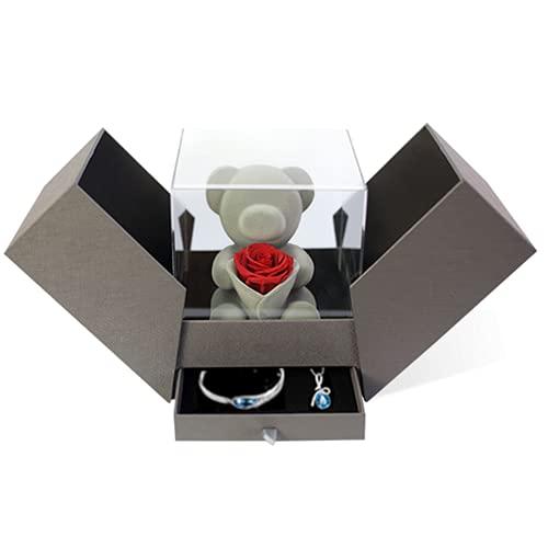Caja de regalo hecha a mano con oso rosa eterna, collar y pulsera para el día de San Valentín, boda, aniversario, cumpleaños para ella (joyas y caja)