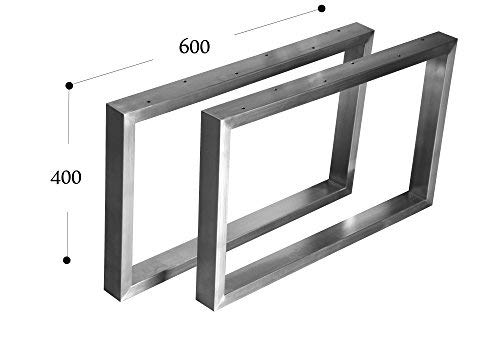 CHYRKA Couchtisch Kufengestell Tischgestell Edelstahl 201 Rahmentisch Tischkufe Tischuntergestell (400x600 mm - 1 Paar)