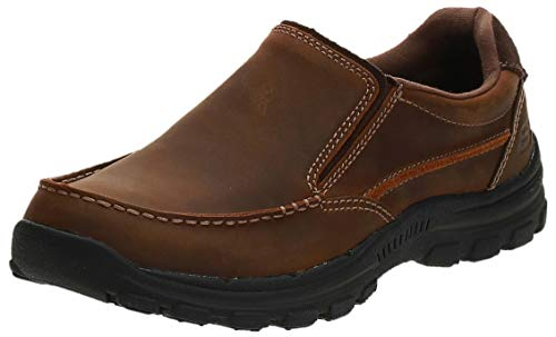 Skechers USA Men's Braver Rayland Slip-On Loafer,Dark Brown Leather,11.5 M US