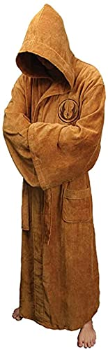Fuman Star Wars Robe Cosplay Jedi Herren Soft Bademantel Saunaman Morgenmantel Cosplay Kostüm Braun