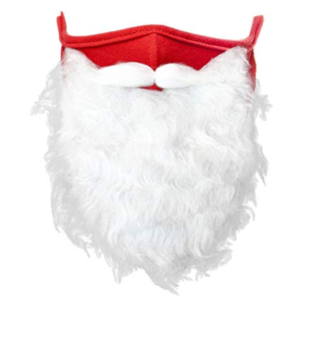 ZYIJUNY 2020 Christmas Holiday Santa Claus Beard Face Mask Costume for Adults Christmas Party Cosplay (One Size fits All) Red (1 Pack)
