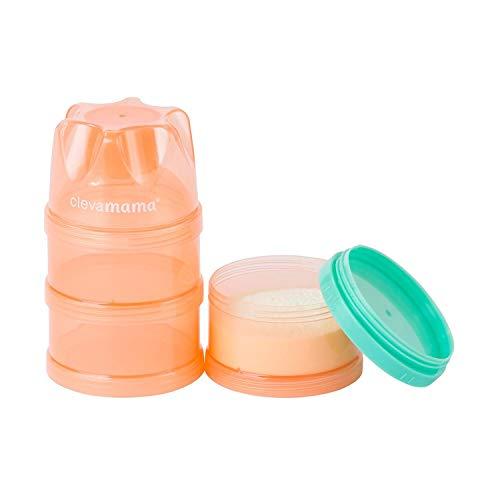 ClevaMama Contenitore Dosatore Latte in Polvere, Dispenser, Dosa Latte Portatile da Viaggio a 3 Scomparti Impilabili - Rosa Trasparente, 18x8x8 cm
