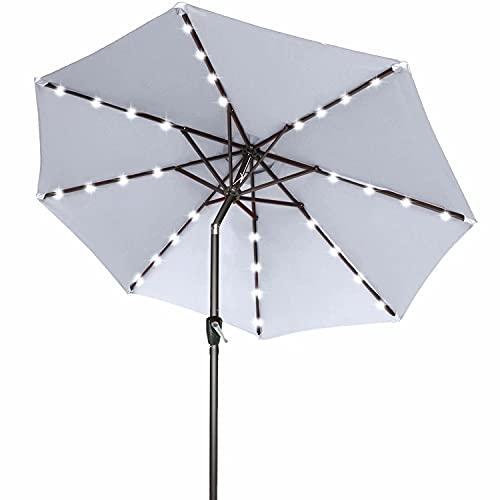 ABCCANOPY 275cm Gartenschirm Sonnenschirm neigbar mit 32 Solar-LED-Lichtern,für Garten,Deck,Schwimmbad,Sandstrand,Hellgrau