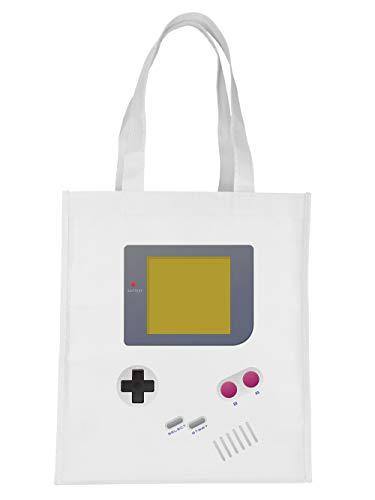 clothinx Handheld Konsole im Vintage 90er Jahre Retro Print   Gamer   Nerd   Geek   Computer Freak   LAN-Party   Stoff-Tasche Weiß