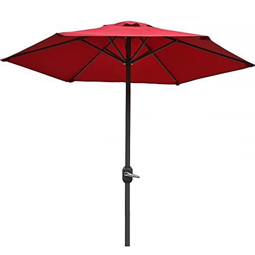 LKHG 2M Parasol Sombrilla De Jardín, Sombrillas para Exteriores con Mecanismo De Manivela, Protección UV, 6 Costillas, Sombrillas De Mesa De Mercado, Sombrilla De Playa, para Patio, Playa, Piscina