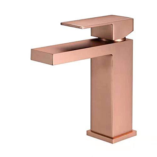 Grifo cuadrado de cobre oro rosa mate negro cepillado oro bajo el lavabo de agua caliente y fría grifo de la cuenca del lavabo de agua caliente y fría - oro rosa