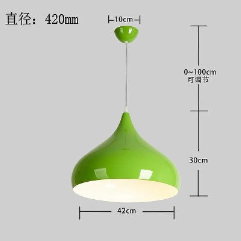 Luckyfree Einfache, moderne Pendelleuchte Zimmer Bar Cafe Restaurant Küche Flur Lampen Deckenleuchte Kronleuchter, Grün Durchmesser 42 cm + 7 W Lichtquelle