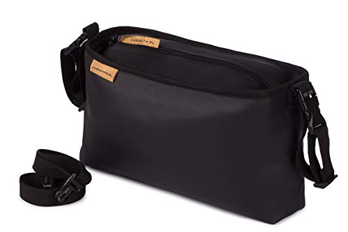 Buggy Organiser Kinderwagen Organizer Tasche passend alle Kinderwägen Öko Leder glatt schwarz Eco Leather Smooth Black [075]