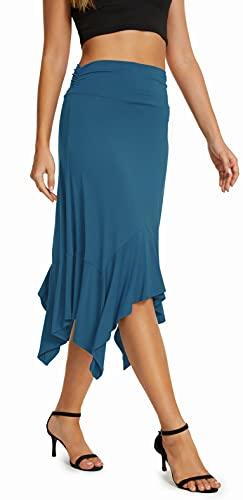 Urban CoCo Women's Summer Beach Skirt Stretchy Midi Skirt with Irregular Hem (Steel Blue, S)