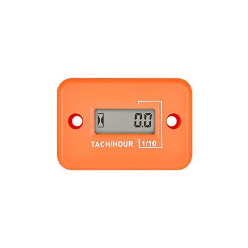 Jayron Tach Hour Meter Digital LCD Inductive Tachometer No Battery Powerful Timing RPM Measuring Waterproof Design,for Gas Engine Lawn Mower Motorcycle Snowmobile Generator (2/4 Stroke) (Orange)