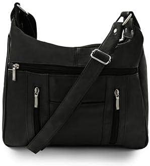 Fin Stores Multi Pockets Leather Shoulder Handbag (Black)