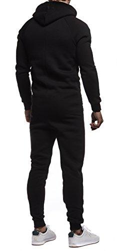 Leif Nelson Herren Overall Jumpsuit Onesie Trainingsanzug Jogginghose Trainings T-Shirt Fitness Stringer Bekleidung LN8154; Größe L; Schwarz-Weiss - 4