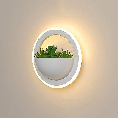 YANQING Duurzame LED Wit Ronde Cirkel Wandlamp Groene Planten Aisle Slaapkamer Eetkamer Woonkamer Studie Balkon Ijzer Acryl Warm Geel Licht Moderne Eenvoudige Minimalisme Holle