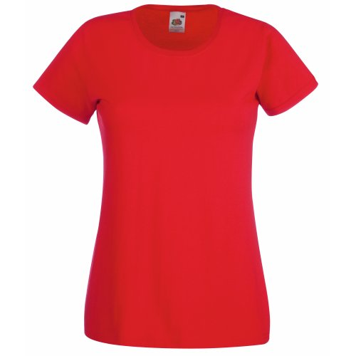 Fruit of the Loom Damen T-Shirt Valueweight T Lady-Fit 61-372-0 Red S