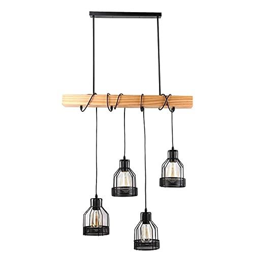 Lámpara colgante retro de madera, para dormitorio o habitación, color negro