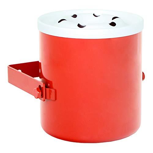Rottner Posacenere Giant, da parete, misura maxi, con recipiente in acciaio e coperchio in alluminio, da esterno, rosso e bianco.