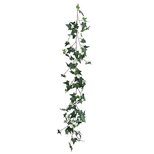 PINBinyee Plantas artificiales para interiores en macetas, 1 pieza de 180 cm, fácil de doblar, no requiere mantenimiento, tela decorativa de ratán falso verde para fiesta - B