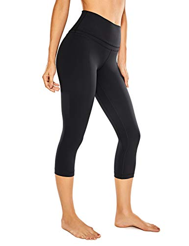 CRZ YOGA Mujer Naked Feeling Leggings Deportivas Cintura Alta Yoga Fitness Pantalones con Bolsillo -48cm Negro R418 46